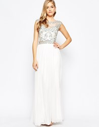 Forever Unique Maisy Two Piece With Embellished Top And Maxi Skirt White