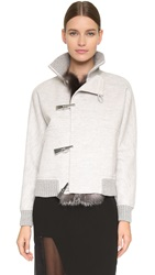 Prabal Gurung Coat With Fox Fur Trim Heather Grey
