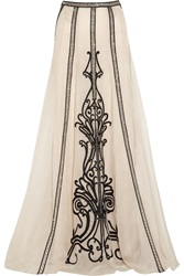 Temperley London Crivelli Embellished Embroidered Silk Organza Maxi Skirt White