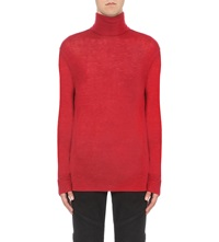 Balmain Turtleneck Wool Jumper Red