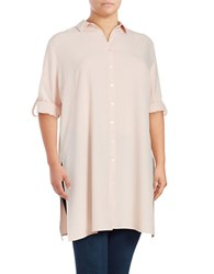 Context Plus Roll Sleeve Button Down Tunic Pink