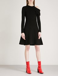 Moandco. Ruffled Cold Shoulder Knitted Dress Black