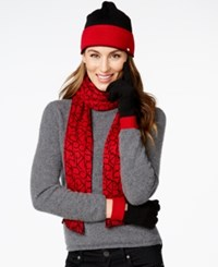 Calvin Klein Two Tone Logo Hat Gloves And Scarf Gift Set Rouge Black
