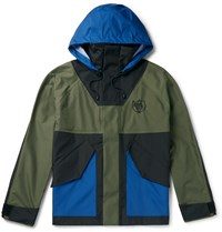 Loewe Eye Nature Colour Block Shell Hooded Parka Green