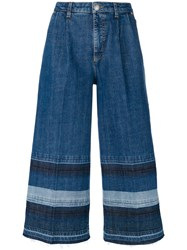 Sonia Rykiel Washed Striped Denim Trousers Blue