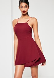 Missguided Burgundy Square Neck Open Back Skater Dress