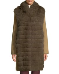 Belle Fare Lightweight Cashmere Coat With Detachable Fur Front Vest Brown