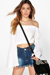Boohoo Kimono Sleeve Off The Shoulder Crop Top White
