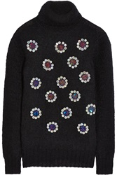 Matthew Williamson Paillette Embellished Mohair Blend Sweater Blue