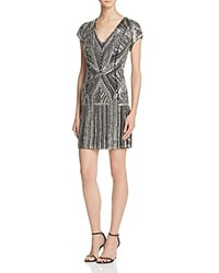 Parker Black Serena Embellished Silk Dress Silver