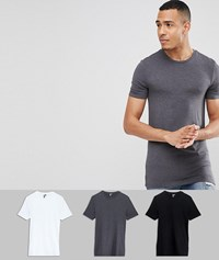 Asos Design Tall Muscle Fit T Shirt 3 Pack Save Blk White Char Marl Multi