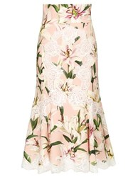 Dolce And Gabbana Lace Trimmed Lily Print Skirt Pink Multi