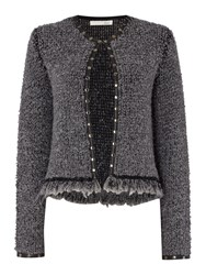 Oui Boucle Knitted Jacket With Leather Trim Grey