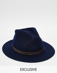 Reclaimed Vintage Fedora With Leather Detail Navy