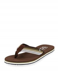 Original Penguin Colby Striped Thong Sandal Brown
