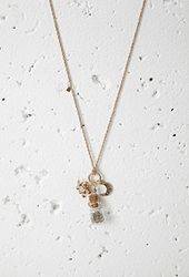 Forever 21 Elephant And Crescent Charm Necklace Antic Gold Grey