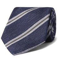 Kingsman Drake's 8Cm Striped Silk And Linen Blend Tie Navy