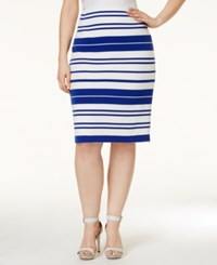 Calvin Klein Plus Size Striped Pencil Skirt White Regatta
