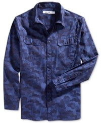 William Rast Men's Baker Camouflage Shirt Indigo Camo
