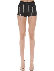 Amen Embellished Cotton Blend Shorts Black