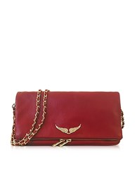 Zadig And Voltaire Garnet Red Leather Foldable Rock Clutch Burgundy