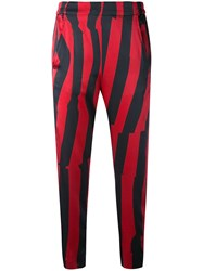 Ann Demeulemeester Cropped Striped Trousers Women Silk Cotton Spandex Elastane Rayon 36 Red