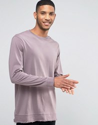 Asos Longline Long Sleeve T Shirt With Distressed Hem Panel Purple