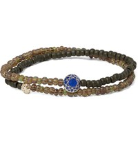 Luis Morais Glass Bead Sapphire And Gold Wrap Bracelet Army Green