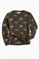 Urban Outfitters Uo Classic Pattern Crew Neck Sweater Grey