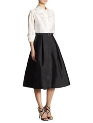 Rickie Freeman For Teri Jon Colorblock Faille Shirtdress Black White