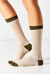Urban Outfitters Textured Colorblock Crew Sock Neutral