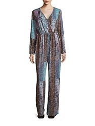 Bcbgmaxazria Colorblock Long Sleeve Jumpsuit Black Multi