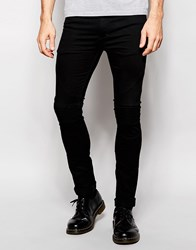 Religion Biker Jeans In Skinny Fit With Stretch In Washed Black Washed Black