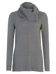 French Connection Angelina Cowl Neck Knit Top Mid Grey Mel