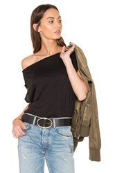 Bobi Light Weight Jersey Off Shoulder Tee Black