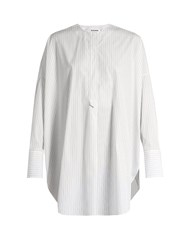 Jil Sander Cassiopea Oversized Striped Cotton Shirt White Stripe