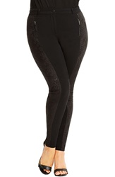 City Chic 'Sexy Lace' Skinny Pants Plus Size Black