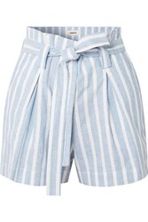 L'agence Alex Belted Striped Linen And Cotton Blend Shorts Blue