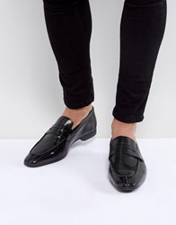 Asos Loafers In Black Faux Leather With Emboss Black