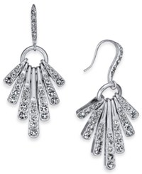 Inc International Concepts I.N.C. Silver Tone Pave Stick Shaky Drop Earrings Rhodium Crystal
