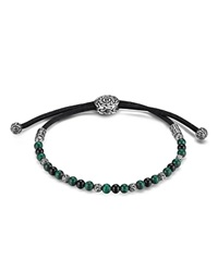 John Hardy Batu Classic Chain Sterling Silver Round Beaded Bracelet On Black Cord With Black Onyx And Malachite Black Green