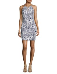 Guess Lilly Floral Print Ladder Cross Dress Navy