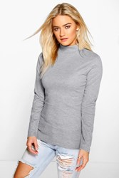 Boohoo Turtle Neck Rib Knit Jumper Silver