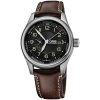 Oris 01 745 7688 4034 07 5 22 77F Men's Big Crown Small Second Pointer Day Leather Strap Watch Brown Black