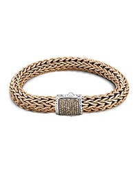 John Hardy Men's Classic Chain Sterling Silver And Bronze Large Chain Bracelet With Brown Pave Diamonds Brown Bronze