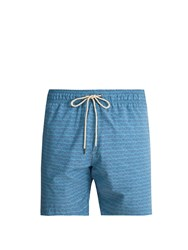 Faherty Beacon Triangle Print Swim Shorts Blue