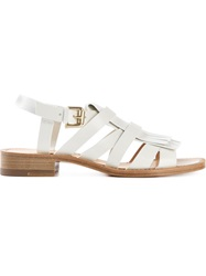 Santoni Tassel Buckle Sandals White