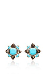 Alasia Anemoni Paste Of Turquoise And Smokey Quartz Earrings Blue