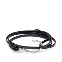 Miansai Silver Tone Hook Leather Bracelet Black