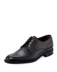 Ermenegildo Zegna Plain Toe Leather Derby Shoe Black